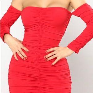 Macau Ruched Dress ( red)